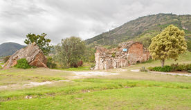 Yungay in Peru - The rouins of the church. The Campo Santo Memorial for the 1970 earthquake Royalty Free Stock Images