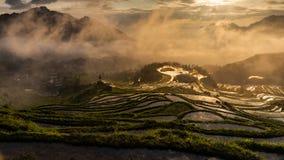 Сельские террасы в графстве Yunhe, городе Lishui, провинции Чжэцзяна стоковые изображения rf