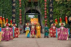 Yunnan Dali Dragon City alvorens open poorten uit te voeren stemt in gast met ceremonie Royalty-vrije Stock Foto's