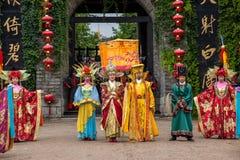 Yunnan Dali Dragon City alvorens open poorten uit te voeren stemt in gast met ceremonie Stock Foto