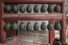 Yunnan Honghe Prefecture Jianshui Temple Great Hall courtyard bells Royalty Free Stock Photos