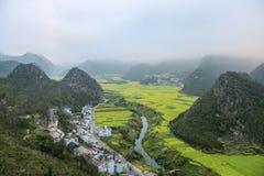Yunnan-Landschaft des Rapssamenblumenfeldes Lizenzfreie Stockbilder