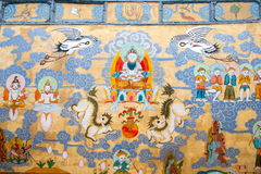 Yunnan Lijiang Naxi alley myths and legends large mural art Royalty Free Stock Photo