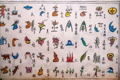 Yunnan Lijiang Naxi piktografu alei ściana Obrazy Royalty Free
