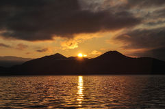 Yunnan Lugu Lake Sunrise Stock Photo