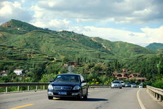 Yunnan Province: Cars on Highway Royalty Free Stock Images