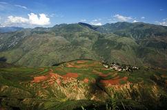 Yunnan Red Land falling clouds ditch Attractions Stock Image