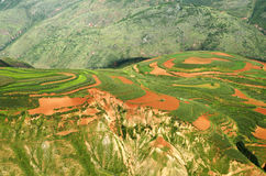 Yunnan Red Land falling clouds ditch Attractions Stock Photography