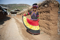 Κίνα, μικρό κορίτσι Yunnan Yi Στοκ Εικόνα