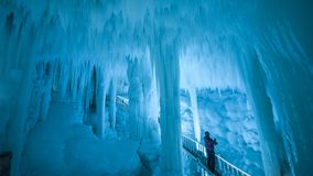 Yunqiushan Ice Cave Group. Is located in Xiangning County, Shanxi Province, China. It was produced in the fourth season of the glaciers. It has a history of royalty free stock image