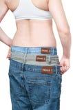 yuong женщины веса контроля потери стоковое изображение