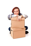 Yuong woman with carton boxes Royalty Free Stock Photo