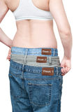 Yuong woman monitoring weight loss Stock Image