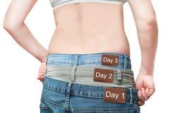 Yuong woman monitoring weight loss stock photo