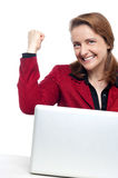 Yup I have done it!. Cropped image of an excited businesswoman celebrating her success Stock Photos