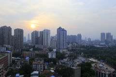 Yupingcheng apartment building peripherysunset Stock Photos
