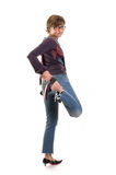 Yuppie girl standing - kick Royalty Free Stock Images