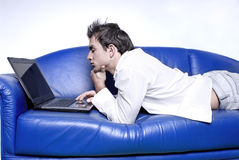 Yuppie with laptop Stock Images