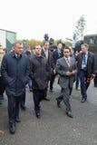 Yuri Borisov, Dmitry Medvedev and Oleg Sienko. NIZHNY TAGIL, RUSSIA - SEP 26: Deputy Minister of defense Yuri Borisov, Prime Minister Dmitry Medvedev and General Stock Images