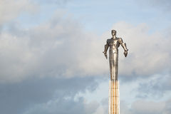 Yuri Gagarin monument. MOSCOW, RUSSIA - NOVEMBER 11, 2013: Monument to Yuri Gagarin. Metal statue of famous Russian cosmonaut in Moscow Royalty Free Stock Images