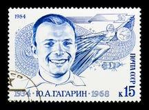 Yuri Gagarin, 50th serie do aniversário do nascimento, cerca de 1984 Imagens de Stock