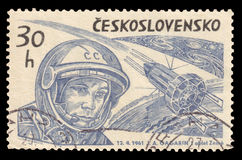 Yuri Gagarin Vintage Stamp 1961. A vintage Czechoslovakian postage stamp featuring the Soviet Cosmonaut Yuri Gagarin, who became the first man in space on 12 Royalty Free Stock Images