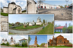 Yuriev-Polsky. Monastery of Archangel Michael. Collage - Yuriev-Polsky. Monastery of Archangel Michael royalty free stock images