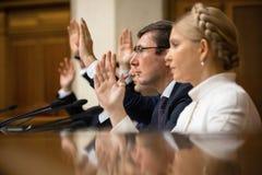 Yuriy Lutsenko and Yulia Tymoshenko Stock Images