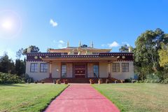 The holy Tibetan temple 2000 is the first of its kind in the Southern Hemisphere. YUROKE, AUSTRALIA - April 29, 2018: The holy Tibetan temple 2000 is the first stock image