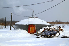 Yurt с санями на белом снеге Стоковые Фотографии RF