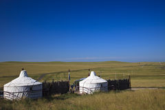 Yurt. Nomad's tent is the national dwelling of Inner Mongolia Stock Photo