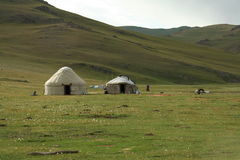 YURT. In the green mountain in kirgyzstan Royalty Free Stock Photography