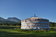 Yurt with Ben Nevis in background Royalty Free Stock Photography