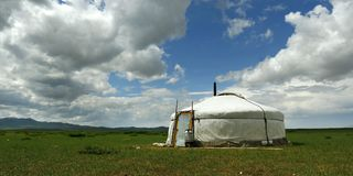 Yurt , in the grassland of Mongolia. Yurt camp ,house of nomad , in the grassland of Mongolia stock photo