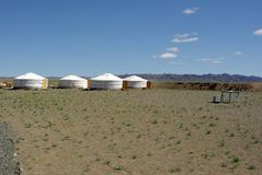 Yurt camp in Mongolia Royalty Free Stock Photo