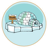 Yurt Eskimos. Classic dwelling peoples of the far north. Eskimos Yurt vector illustration