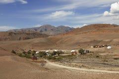Yurt het kamperen Tydtuyaryk, Altai-Bergen Royalty-vrije Stock Foto