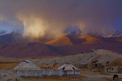 Free Yurt In Sand Storm Against Snow Mountain Royalty Free Stock Image - 86665826