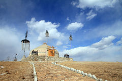Yurt in Inner Mongolia China. Beautiful blue sky and white clouds below, Mongolian nomads live in yurt in Inner Mongolia China Royalty Free Stock Photography
