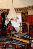 Yurt inre som visas på Sabantui beröm i Moskva Arkivfoto