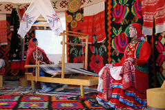 Yurt interior shown at Sabantui celebration in Moscow Royalty Free Stock Image