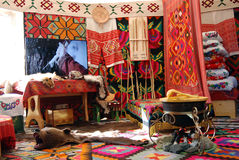 Yurt interior shown at Sabantui celebration in Moscow. MOSCOW - JULY 17, 2016: Yurt (traditional home) interior shown at Sabantui celebration in Moscow, in royalty free stock photos
