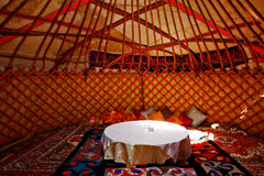 Yurt Interiors. Colourful interiors of a traditional yurt (house of nomads) in Kyrgyzstan Royalty Free Stock Image