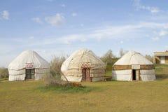 Yurt kazako nel deserto di Kyzylkum Immagini Stock Libere da Diritti