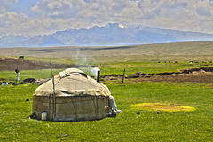Yurt. Kyrgyz national portable house- Yurt.  Traditionally used by nomads. Photo taken in Naryn region, Kyrgyzstan, Central Asia Stock Images