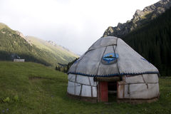 Yurt in Kyrgyzstan. Yurt on the mountains close to Karakol, Kyrgyzstan Stock Photo