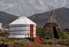Yurt. On Lanzarote island, the Canary Islands, Spain Royalty Free Stock Images