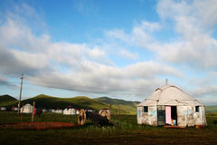 Yurt and lele vehicle. This is Xilinguole League which locates at Inner-Mongolia China. This is the picture of chinese nomadic life:grassland, white yurt, lele Royalty Free Stock Images