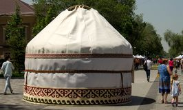Yurt in the middle of the street stock photo