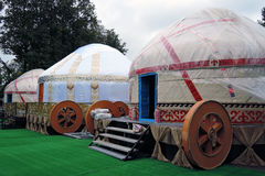 Yurt models shown at VDNKH park in Moscow. Royalty Free Stock Photos